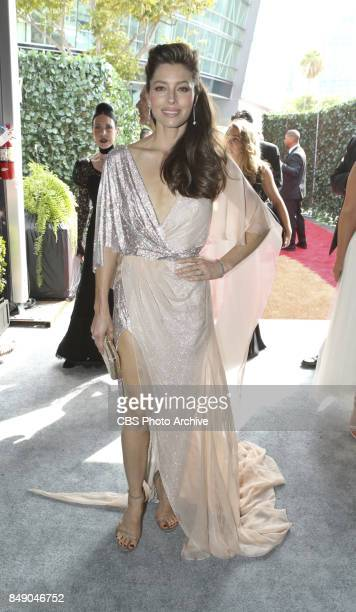 Jessica Biel arrives on the red carpet at the 69TH PRIMETIME EMMY AWARDS LIVE from the Microsoft Theater in Los Angeles Sunday Sept 17 on the CBS...