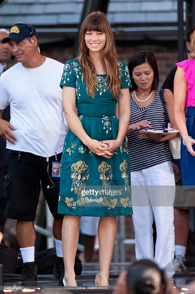<a gi-track='captionPersonalityLinkClicked' href=/galleries/search?phrase=Jessica+Biel&family=editorial&specificpeople=203011 ng-click='$event.stopPropagation()'>Jessica Biel</a> attends ABC's 'Good Morning America' at Rumsey Playfield, Central Park on August 3, 2012 in New York City.