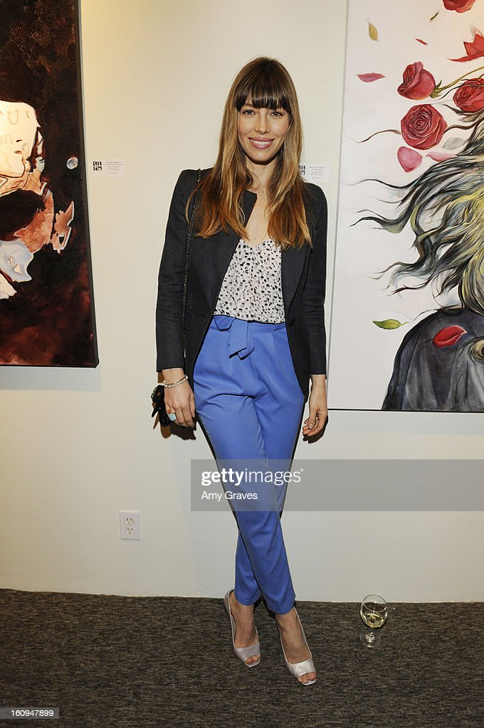 Jessica Biel attends Darren Le Gallo's 'Nothing You Don't Know' Exhibition hosted by Trigg Ison Fine Art, Amy Adams and Justin Timberlake at Trigg Ison Fine Arts Gallery on February 7, 2013 in West Hollywood, California.