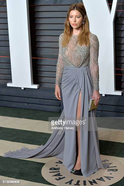 Jessica Biel attends the 2016 Vanity Fair Oscar Party hosted By Graydon Carter at Wallis Annenberg Center for the Performing Arts on February 28 2016...