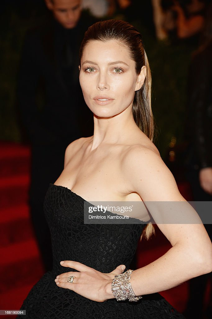 <a gi-track='captionPersonalityLinkClicked' href=/galleries/search?phrase=Jessica+Biel&family=editorial&specificpeople=203011 ng-click='$event.stopPropagation()'>Jessica Biel</a> attends the Costume Institute Gala for the 'PUNK: Chaos to Couture' exhibition at the Metropolitan Museum of Art on May 6, 2013 in New York City.