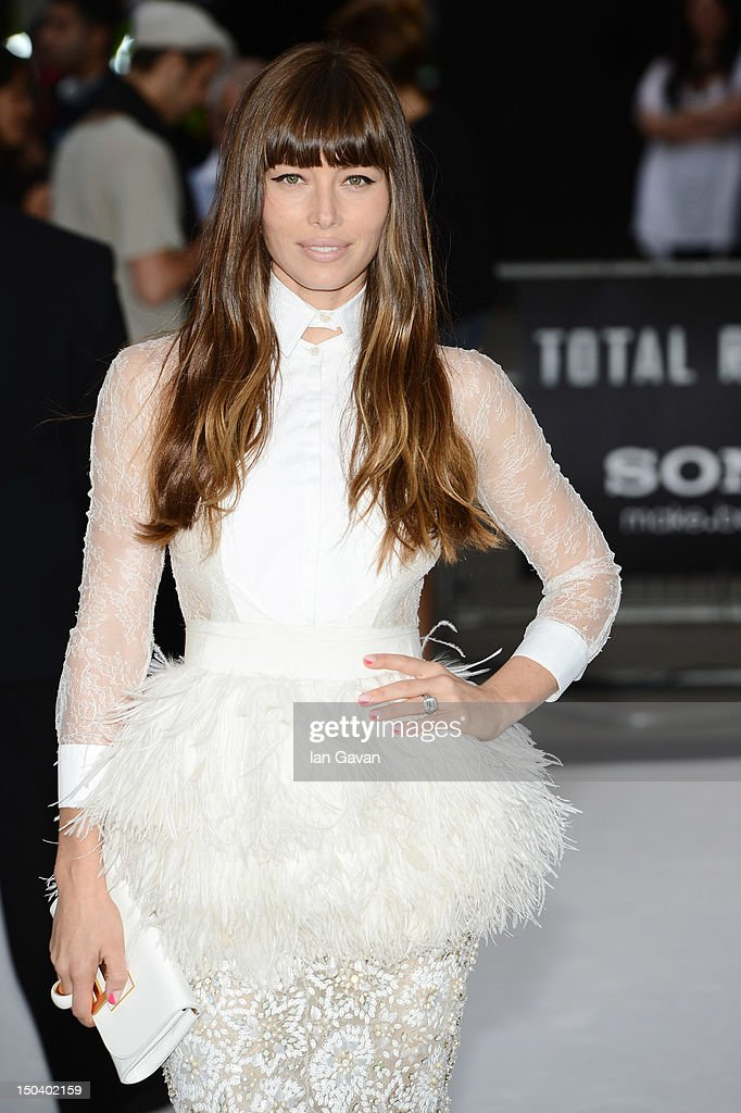 <a gi-track='captionPersonalityLinkClicked' href=/galleries/search?phrase=Jessica+Biel&family=editorial&specificpeople=203011 ng-click='$event.stopPropagation()'>Jessica Biel</a> attends the 'Total Recall' UK premiere at Vue West End on August 16, 2012 in London, England.