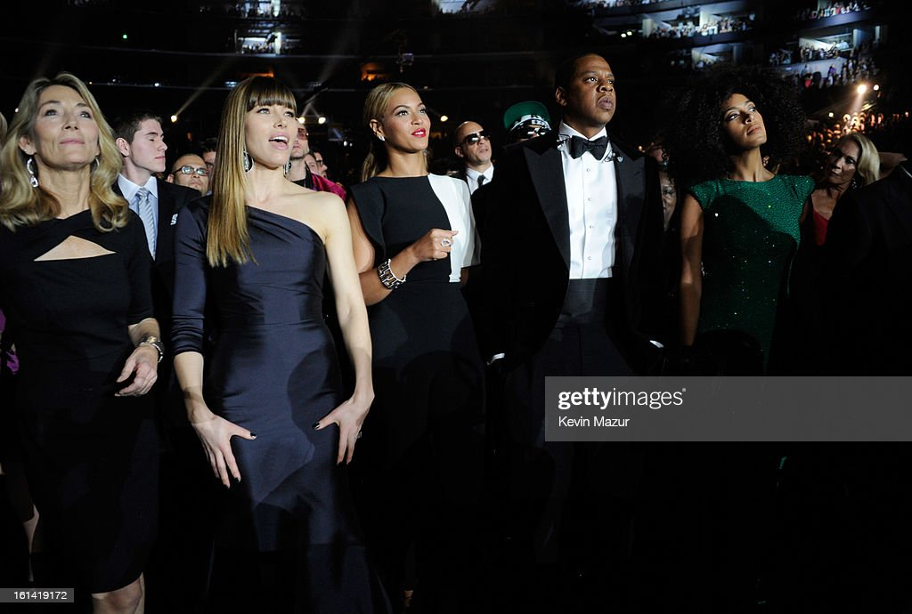 Jessica Biel, Beyonce and Jay-Z attend the 55th Annual GRAMMY Awards at STAPLES Center on February 10, 2013 in Los Angeles, California.