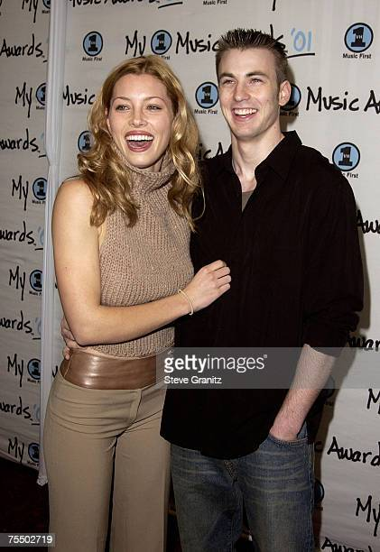 Jessica Biel Chris Evans arriving at the My VH1 Music Awards 2001 at the Shrine Auditorium in Los Angeles at the The Shrine Auditorium in Los Angeles...