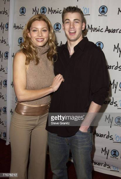 Jessica Biel Chris Evans arriving at the My VH1 Music Awards 2001 at the Shrine Auditorium in Los Angeles