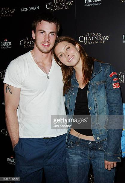 Jessica Biel Chris Evans during 'The Texas Chainsaw Massacre' Halloween Party At The Mondrian Hotel at Sky Bar At The Mondrian Hotel in West...