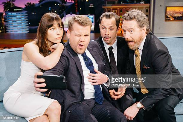 Jessica Biel Giovanni Ribisi and Bryan Cranston chat with James Corden during 'The Late Late Show with James Corden' Thursday January 12 2017 On The...