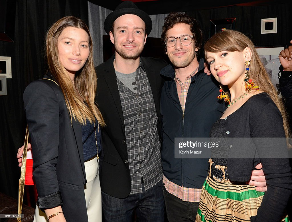 Jessica Biel, Justin Timberlake, Andy Samberg and Joanna Newsom backstage after MasterCard Priceless Premieres presents Justin Timberlake at Roseland Ballroom on May 5, 2013 in New York City.