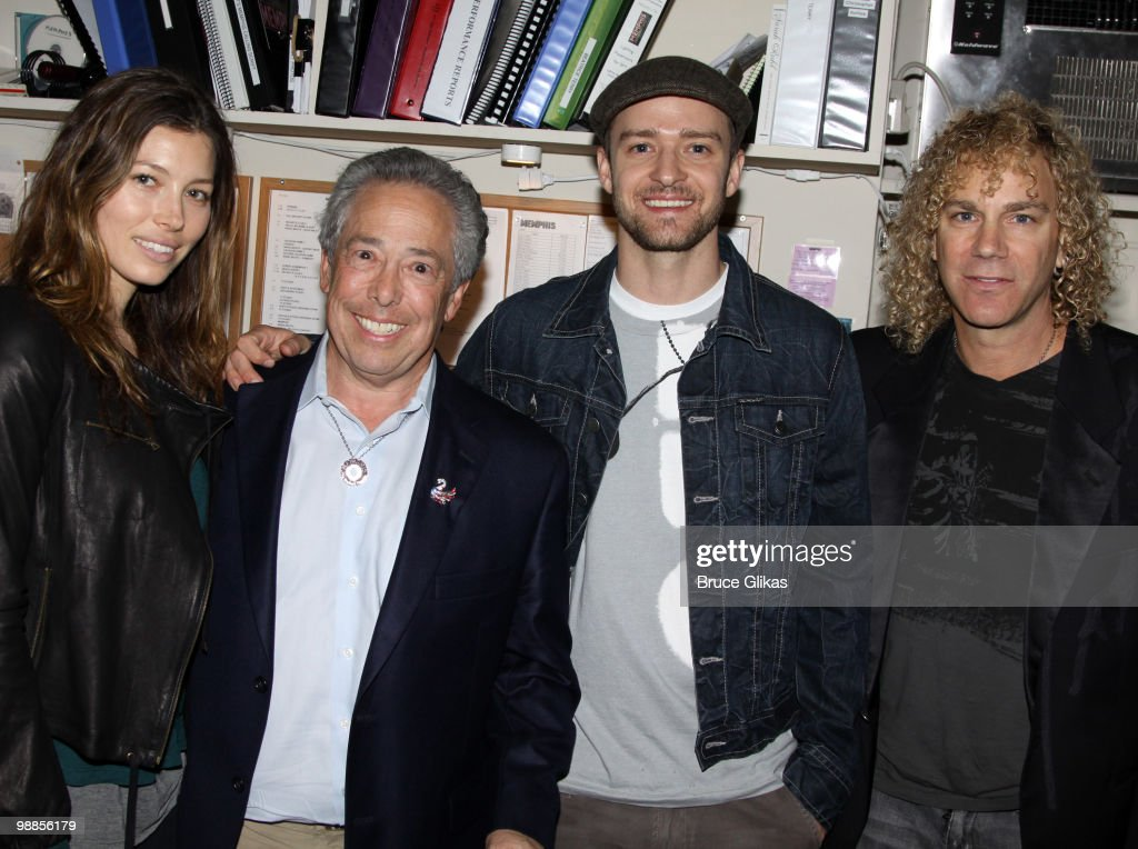 Jessica Biel Producer Kenny Alhadeff Justin Timberlake and 'Memphis' composer David Bryan pose backstage at the hit broadway musical 'Memphis' on...