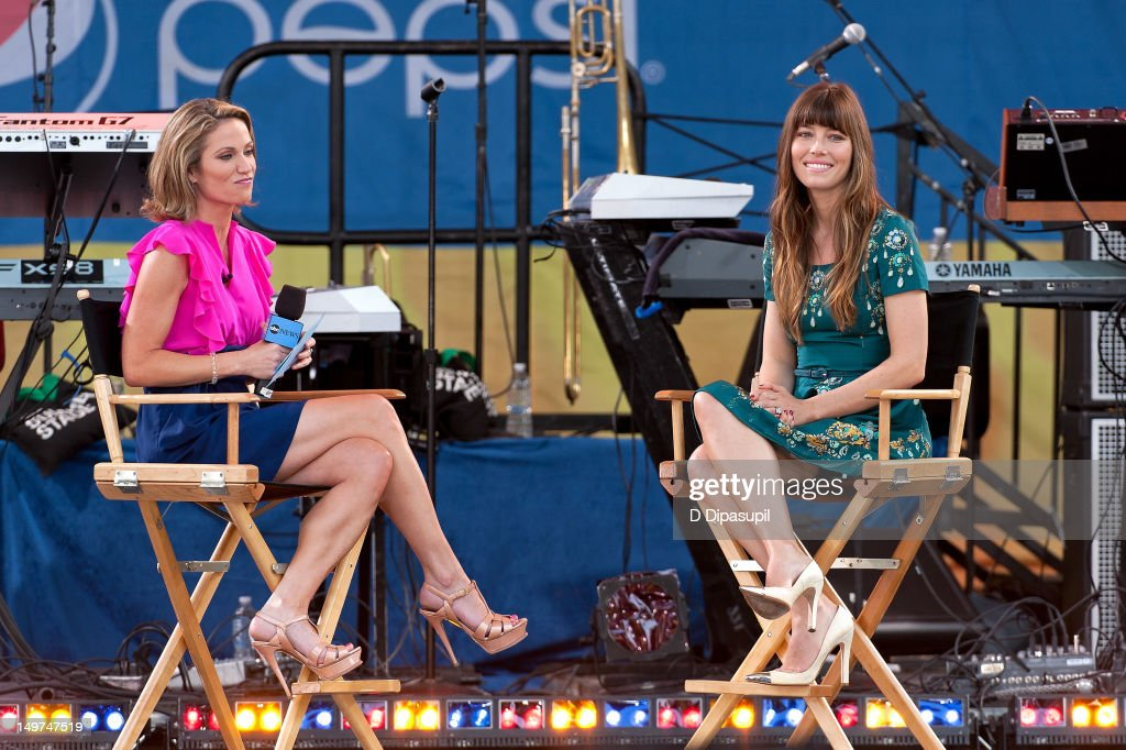 <a gi-track='captionPersonalityLinkClicked' href=/galleries/search?phrase=Jessica+Biel&family=editorial&specificpeople=203011 ng-click='$event.stopPropagation()'>Jessica Biel</a> (R) sits onstage with host Amy Robach ABC's 'Good Morning America' at Rumsey Playfield, Central Park on August 3, 2012 in New York City.