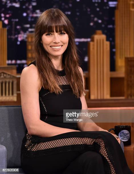 Jessica Biel Visits 'The Tonight Show Starring Jimmy Fallon' at Rockefeller Center on July 25 2017 in New York City