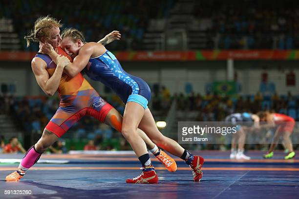 Jessica Blaszka of the Netherlands competes against Haley Ruth Augello of the United States during a Women's Freestyle 48kg 1/8 Final bout on Day 12...