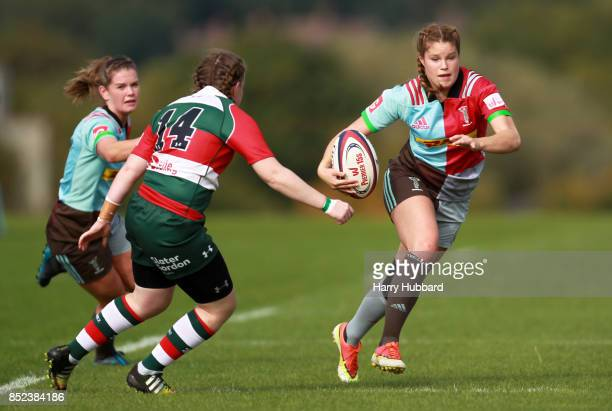 Jessica Breach of Harlequins Ladies and Michelle Davis of Firwood Waterloo Ladies in action during the Tyrrells Premier 15s match between Harlequins...