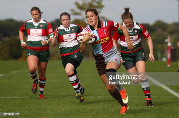 Jessica Breach of Harlequins Ladies in action during the Tyrrells Premier 15s match between Harlequins Ladies and Firwood Waterloo Ladies at Surrey...