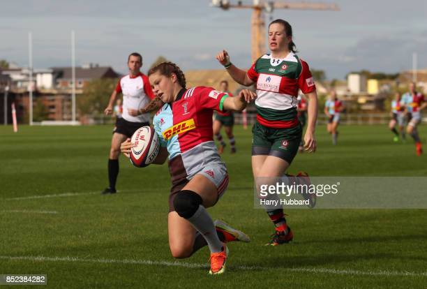 Jessica Breach of Harlequins Ladies scores a try during the Tyrrells Premier 15s match between Harlequins Ladies and Firwood Waterloo Ladies at...