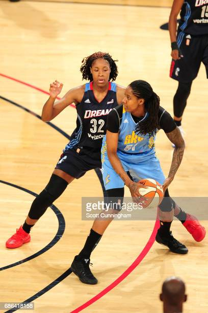 Jessica Breland of the Chicago Sky handles the ball against the Atlanta Dream on May 21 2017 at Hank McCamish Pavilion in Atlanta Georgia NOTE TO...