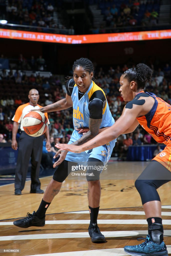 Jessica Breland #51 of the Chicago Sky handles the ball during the game against the Connecticut Sun during a WNBA game on August 25, 2017 at the Mohegan Sun Arena in Uncasville, Connecticut.