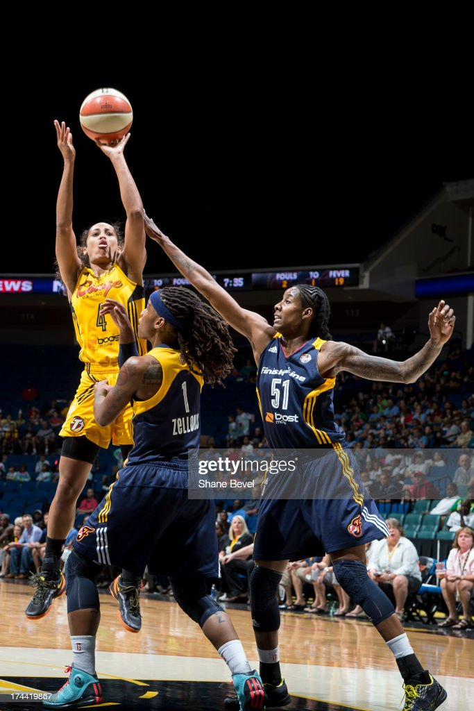 Jessica Breland # 51 of the Indiana Fever fouls <a gi-track='captionPersonalityLinkClicked' href=/galleries/search?phrase=Skylar+Diggins&family=editorial&specificpeople=5791961 ng-click='$event.stopPropagation()'>Skylar Diggins</a> # 4 of the Tulsa Shock during the WNBA game on July 25, 2013 at the BOK Center in Tulsa, Oklahoma.