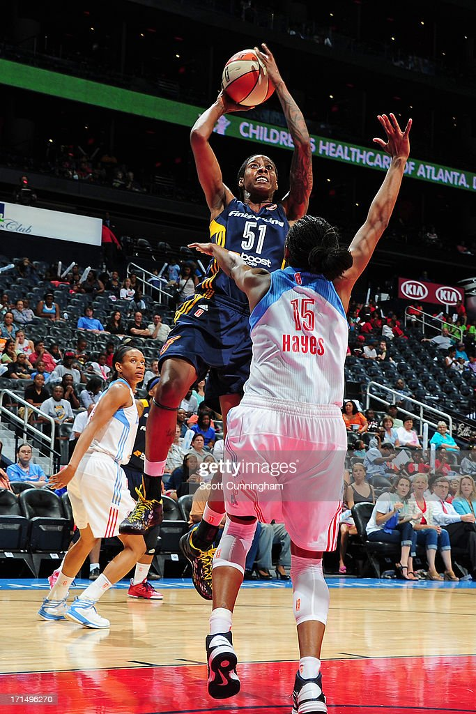 Jessica Breland #51 of the Indiana Fever puts up a shot against the Atlanta Dream at Philips Arena on June 25, 2013 in Atlanta, Georgia.