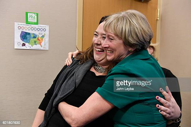 Jessica Brennan gets a hug from Barbara Coombs after finding out that Prop 106 has passed which would allow terminally ill patients to take...