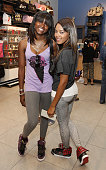 Jessica Brown and Angela Simmons attends the visit to Foot Locker Herald Square on July 7 2009 in New York City