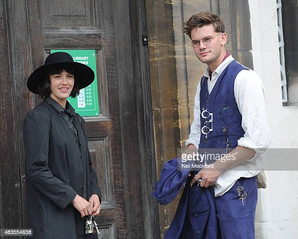 Jessica Brown Findlay and Jeremy Irvine seen filming 'This Beautiful Fantastic' at Stoke Newington Library on August 8 2015 in London England