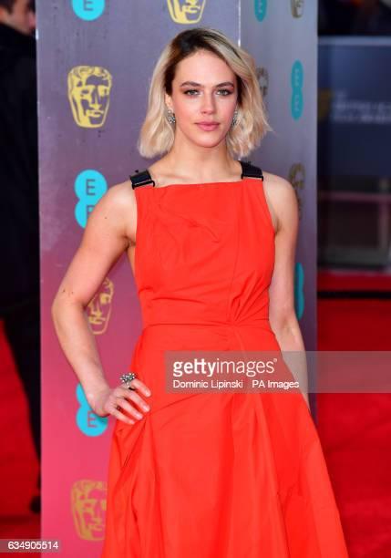Jessica Brown Findlay attending the EE British Academy Film Awards held at the Royal Albert Hall Kensington Gore Kensington London