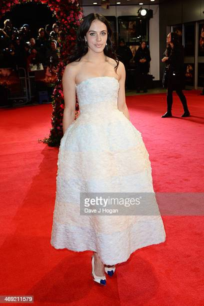 Jessica Brown Findlay attends the UK premiere of 'A New York Winter's Tale' at The Odeon Kensington on February 13 2014 in London England