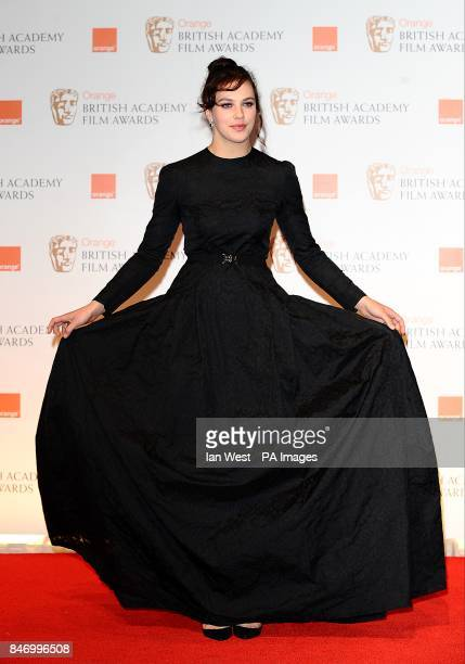 Jessica Brown Findlay in the press room at the 2012 Orange British Academy Film Awards at the Royal Opera House Bow Street London