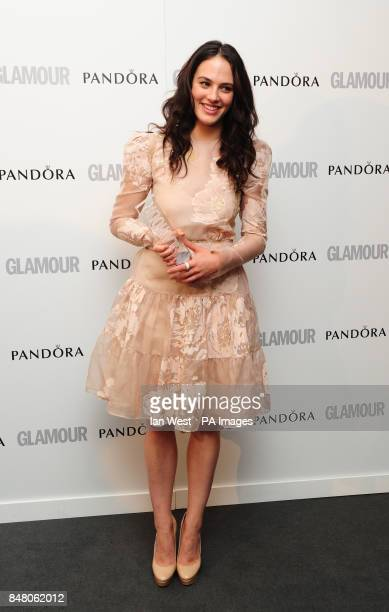 Jessica Brown Findlay with the award for Best UK TV Actress at the 2012 Glamour Women of the Year Awards in Berkeley Square London