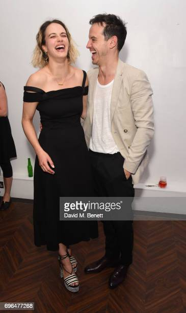 Jessica BrownFindlay and Andrew Scott attend the press night after party for The Almeida Theatre's 'Hamlet' playing at the Harold Pinter Theatre on...