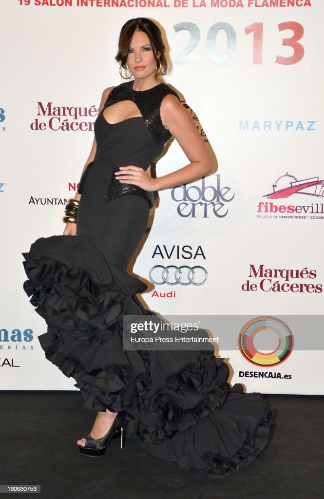 Jessica Bueno attends the International Flamenco Fashion Show 'SIMOF' on February 2, 2013 in Seville, Spain.