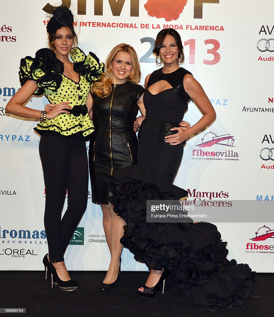 Jessica Bueno (R) attends the International Flamenco Fashion Show 'SIMOF' on February 2, 2013 in Seville, Spain.