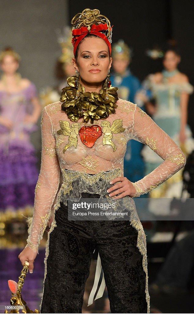Jessica Bueno walks the runway during the International Flamenco Fashion Show 'SIMOF' on February 2, 2013 in Seville, Spain.