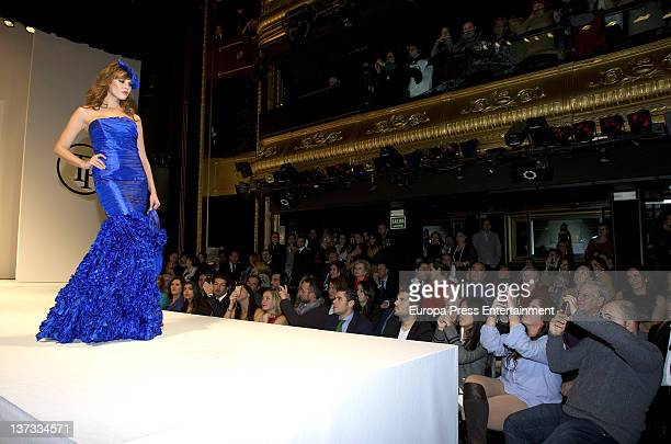 Jessica Bueno walks the runway while her boyfriend Kiko Rivera and Anabel Pantoja are taking pictures at Tony Hernandez SpringSummer 2012 fashion...