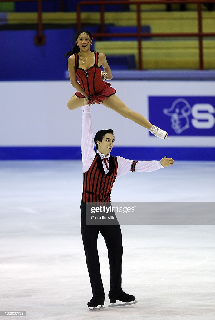 Jessica Calalang and Zack Sidhu of USA skate in the Pairs Short Program during day 3 of the ISU World Junior Figure Skating Championships at Agora Arena on February 27, 2013 in Milan, Italy.