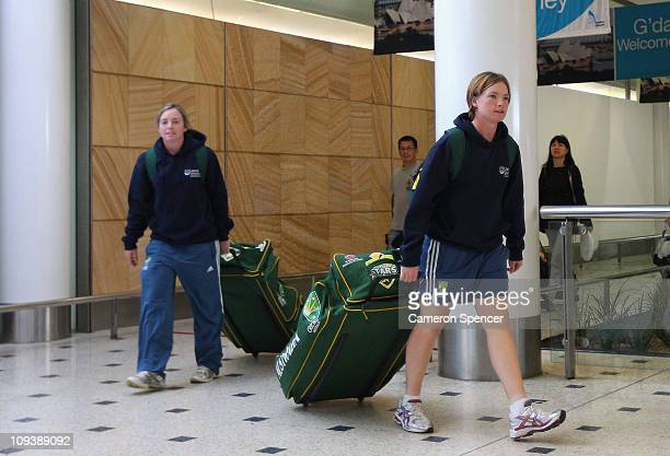 Jessica Cameron of the Australian women's cricket squad arrives back in Australia at Sydney International Airport on February 24 2011 in Sydney...
