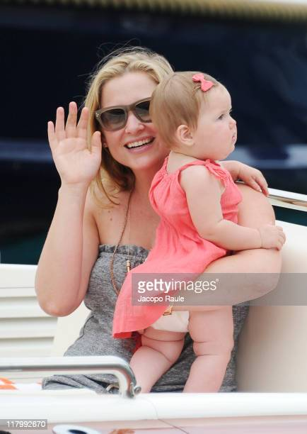 Jessica Capshaw and her daughter Eve Augusta Gavigan seen on July 2 2011 in Portofino Italy