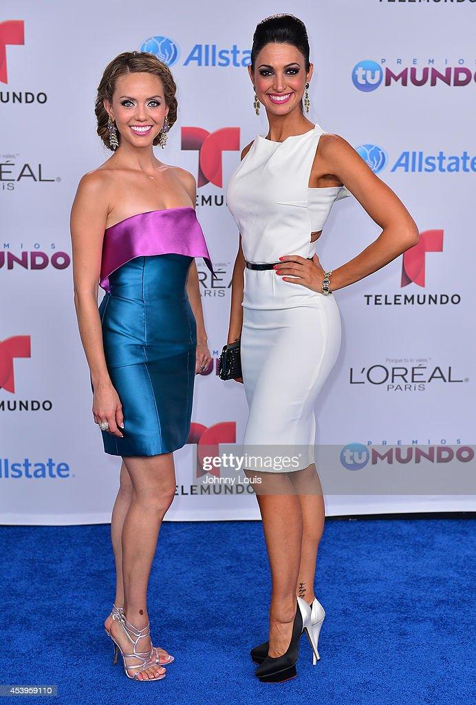 Jessica Carrillo and Erika Csiczer arrive at Telemundo's Premios Tu Mundo Awards 2014 at American Airlines Arena on August 21, 2014 in Miami, Florida.