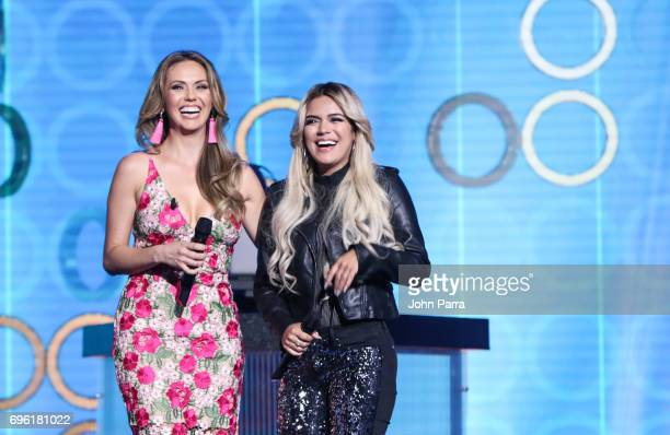Jessica Carrillo and Karol G are seen at Telemundo's 'Don Francisco Te Invita' on May 18 2017 in Miami Florida