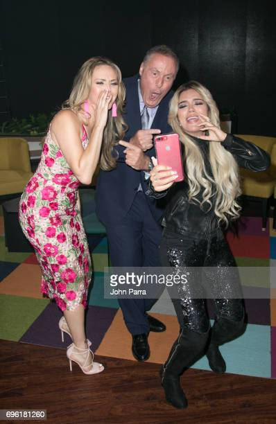 Jessica Carrillo Andres Cantor and Karol G are guest at Telemundo's 'Don Francisco Te Invita' on May 18 2017 in Miami Florida