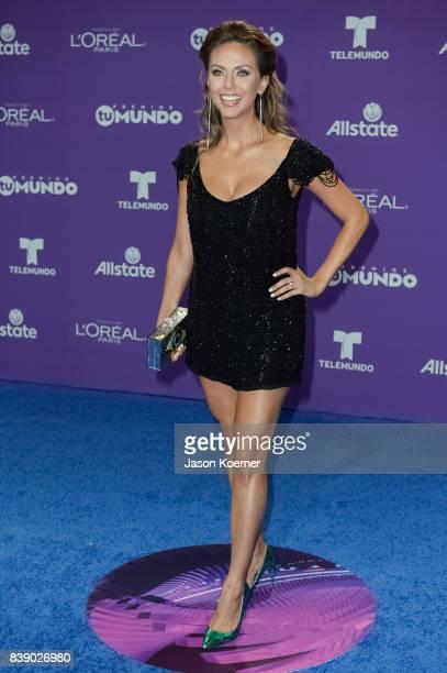 Jessica Carrillo arrives at Telemundo's 2017 'Premios Tu Mundo' at American Airlines Arena on August 24 2017 in Miami Florida