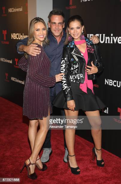 Jessica Carrillo Carlos Ponce and Carolina Miranda attend the NBCUniversal International Offsite Event at LIV Fontainebleau on November 9 2017 in...