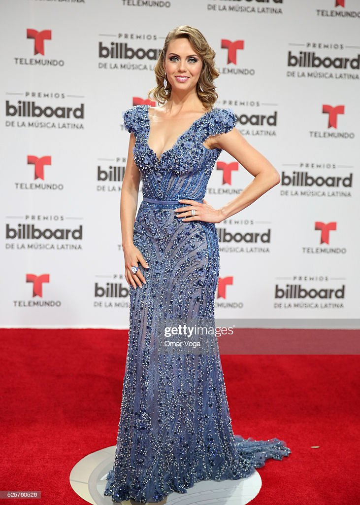 Jessica Carrillo poses during the red carpet of Billboard Latin Music Awards 2016 at Bank United Center on April 28, 2016 in Miami, United States.