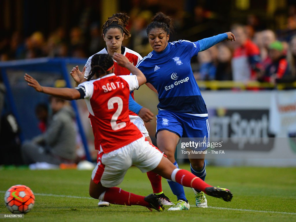 Jessica Carter of Birmingham City Ladies is tackled by Alex Scott of Arsenal Ladies FC during the WSL match between Birmingham City Ladies and...