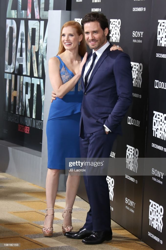 <a gi-track='captionPersonalityLinkClicked' href=/galleries/search?phrase=Jessica+Chastain&family=editorial&specificpeople=653192 ng-click='$event.stopPropagation()'>Jessica Chastain</a> and Edgar Ramirez attend the 'Zero Dark Thirty' Los Angeles premiere at Dolby Theatre on December 10, 2012 in Hollywood, California.