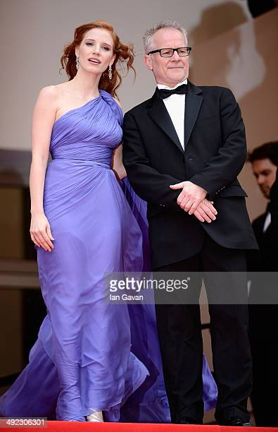 Jessica Chastain and General Delegate of the Cannes Film Festival Thierry Fremaux attend the 'Foxcatcher' premiere during the 67th Annual Cannes Film...