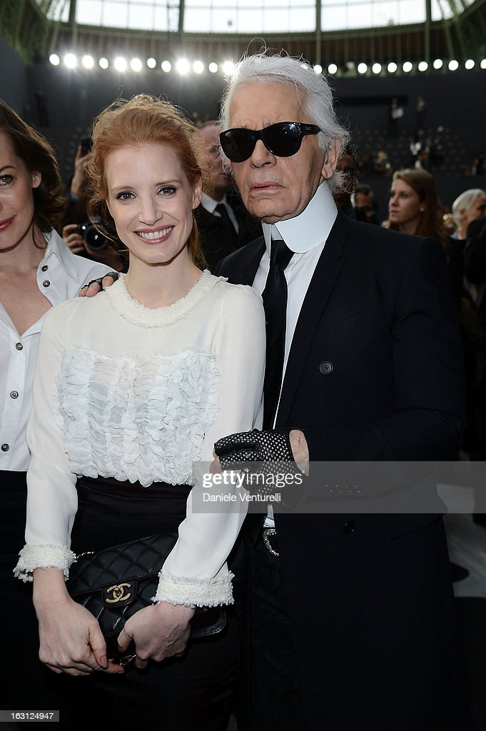 <a gi-track='captionPersonalityLinkClicked' href=/galleries/search?phrase=Jessica+Chastain&family=editorial&specificpeople=653192 ng-click='$event.stopPropagation()'>Jessica Chastain</a> and German fashion designer Karl Lagerfeld for Chanel attend the Chanel Fall/Winter 2013 Ready-to-Wear show as part of Paris Fashion Week at Grand Palais on March 5, 2013 in Paris, France.