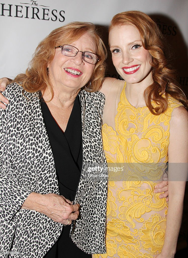 <a gi-track='captionPersonalityLinkClicked' href=/galleries/search?phrase=Jessica+Chastain&family=editorial&specificpeople=653192 ng-click='$event.stopPropagation()'>Jessica Chastain</a> (R) and grandmother Marilyn (L) attend the opening night after party for the revival of 'The Heiress' on Broadway at The Edison Ballroom on November 1, 2012 in New York City.