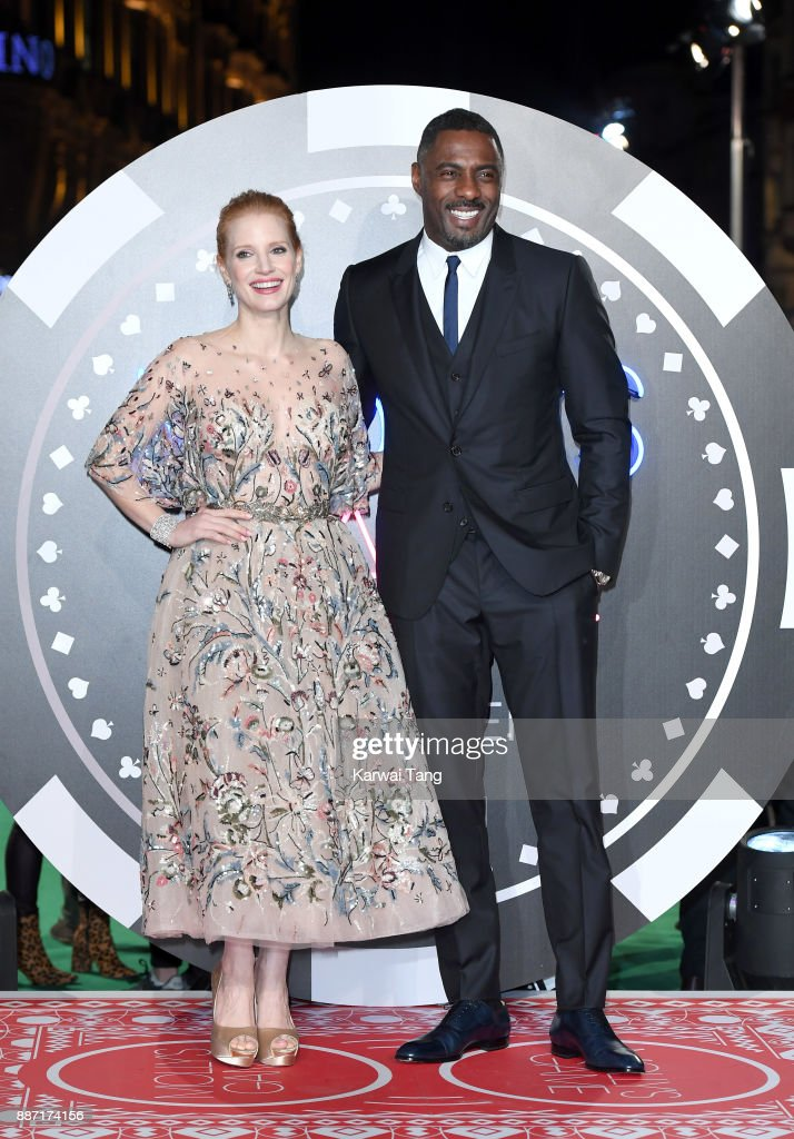 Jessica Chastain and Idris Elba attend the 'Molly's Game' UK premiere at Vue West End on December 6, 2017 in London, England.